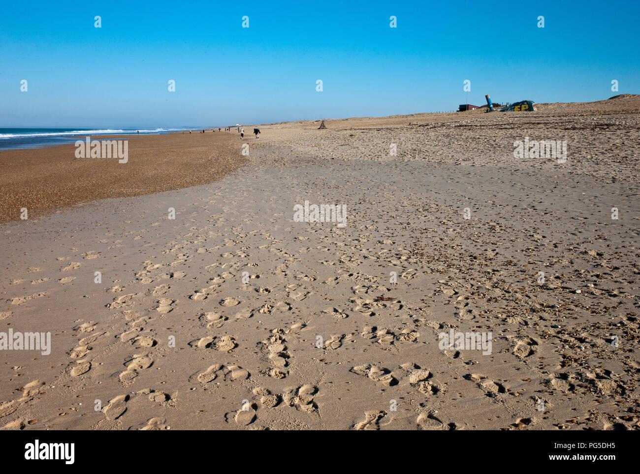 Die laufen in der Sonne am Strand von Tarnos Plage, am Golf von Biskaya, Landes, Nouvelle-Aquitaine, Frankreich, Europa am Weihnachtstag Stockbild