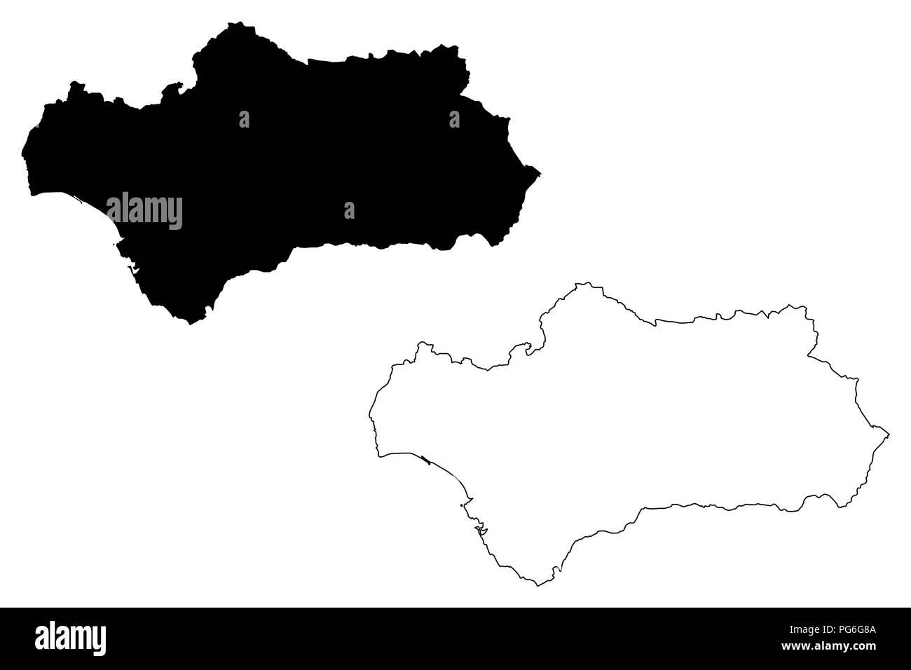 Andalusien Karte Spanien.Andalusien Königreich Spanien Autonome Gemeinschaft Karte Vektor