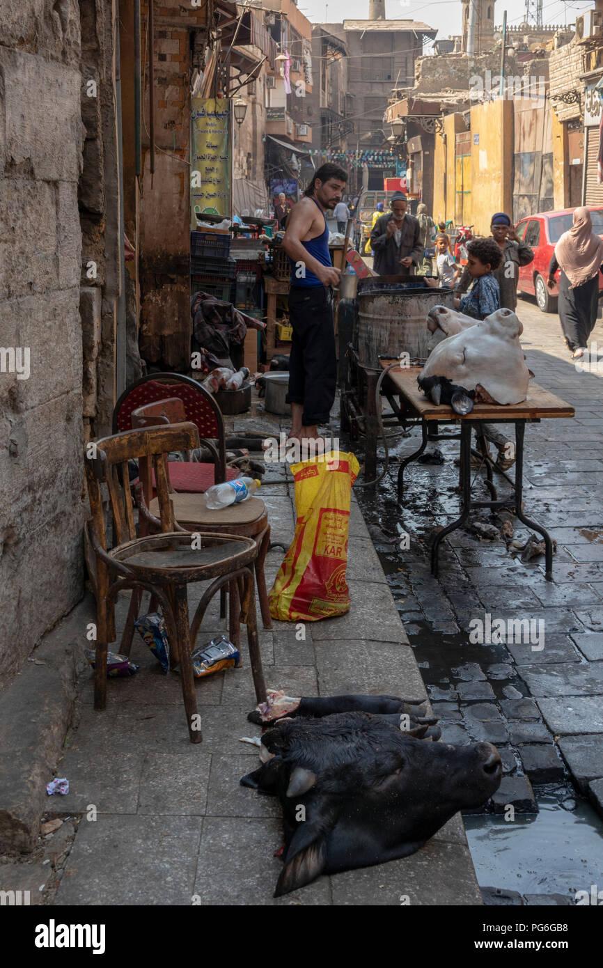 Die strasse Metzgerei mit Vieh Köpfe während des Islamischen eid Urlaub, Kairo, Ägypten Stockbild
