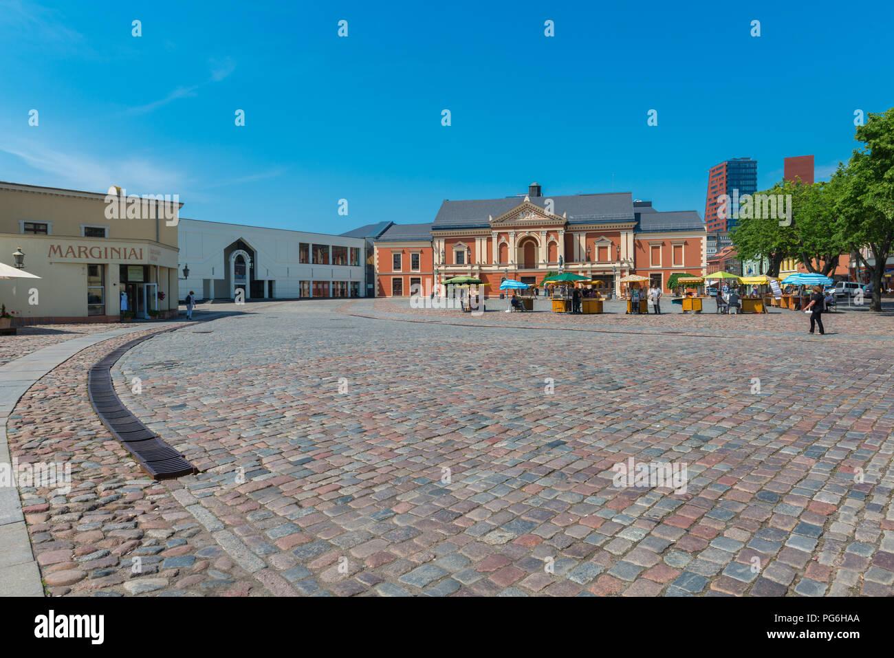 Markt Tag, Marktstände, Stadtzentrum, Klaipeda, Kurische Haff, Litauen, Osteuropa Stockbild