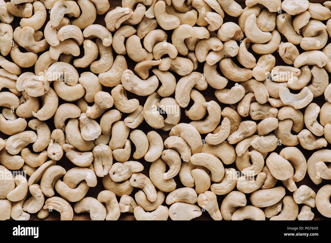 Blick von oben auf die Cashew im Vollbildmodus Stockbild
