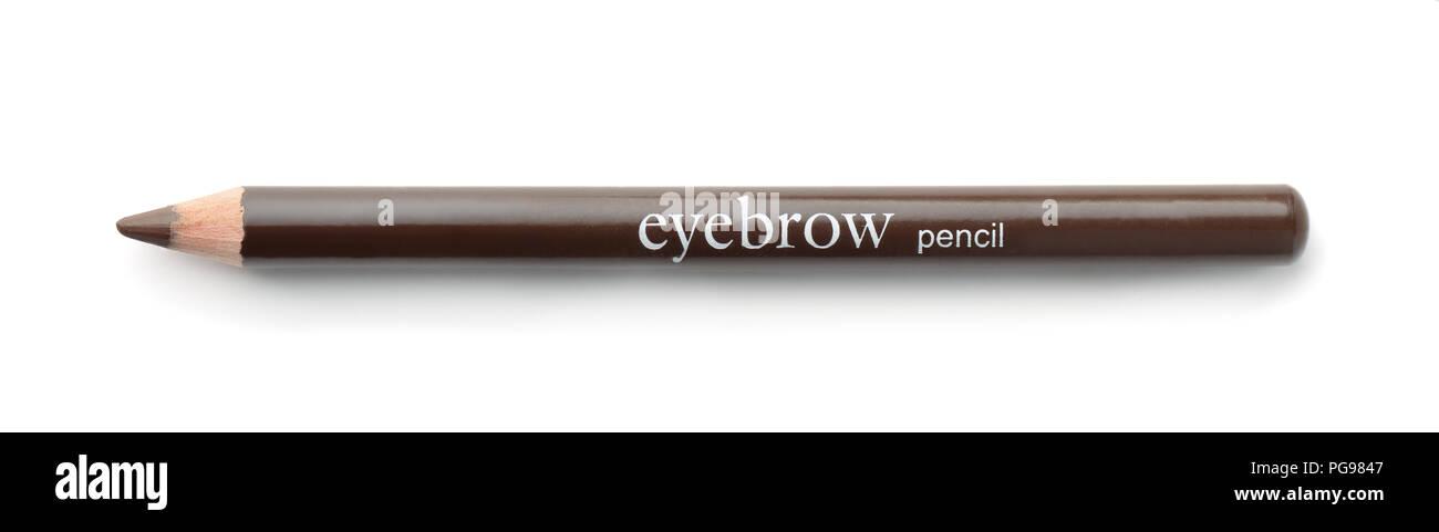 Blick von oben auf die braune Augenbrauen Bleistift isoliert auf weißem Stockbild