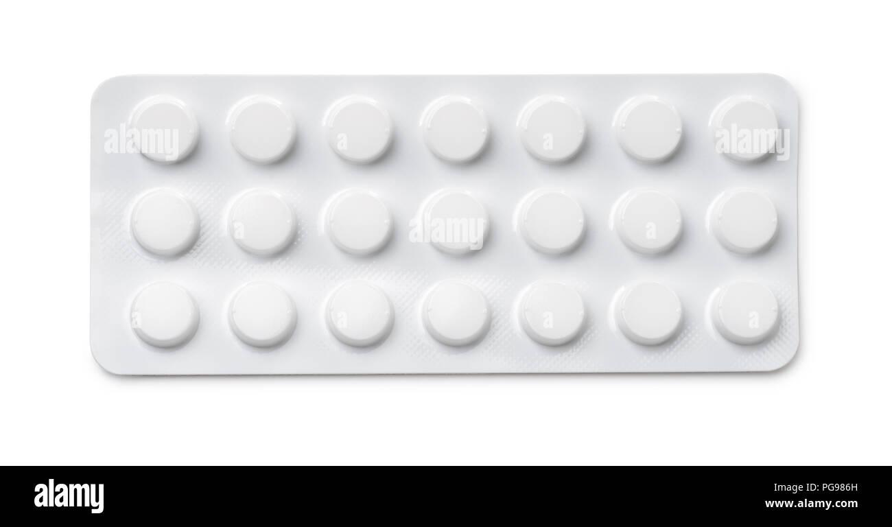Blick von oben auf die Pillen Blisterpackung isoliert auf weißem Stockfoto