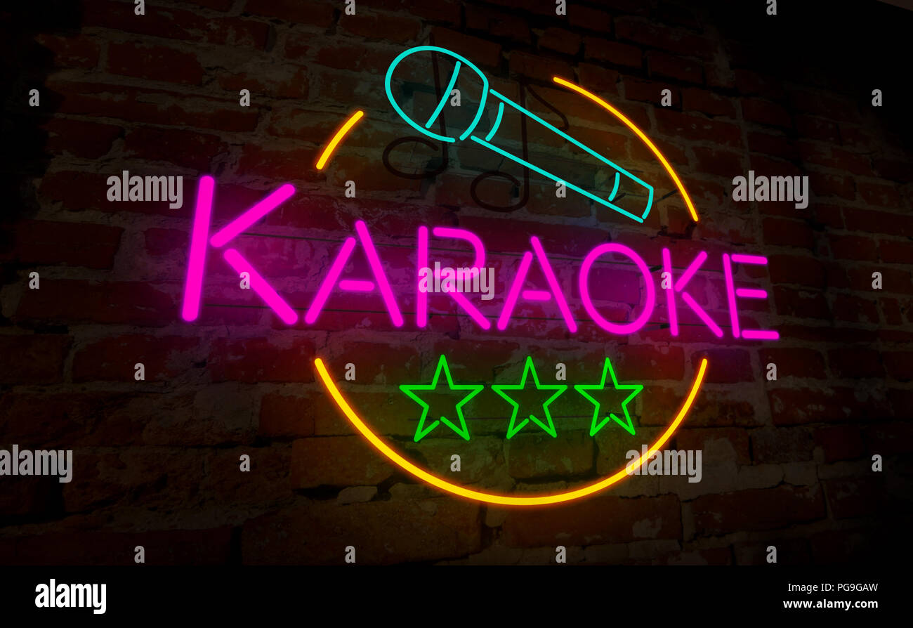 Fabulous Karaoke club Neon Lampe auf Ziegel Wand. Retro licht Schriftzug SV56