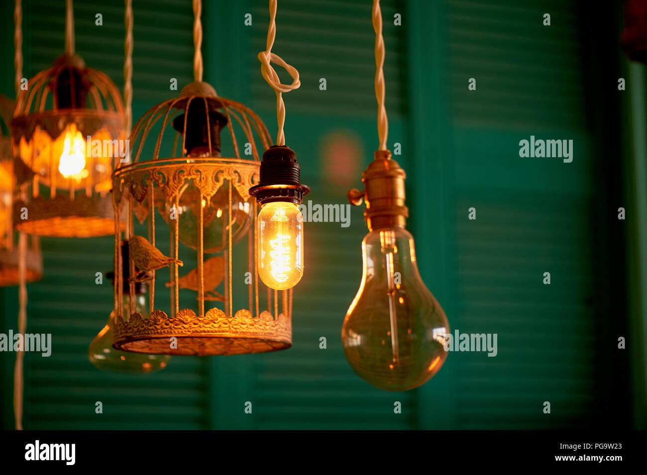 Glühlampen Erickson ausgesetzt mit der Zellen mit der Dekoration Vogel. Gelbe warmes Licht Stockbild