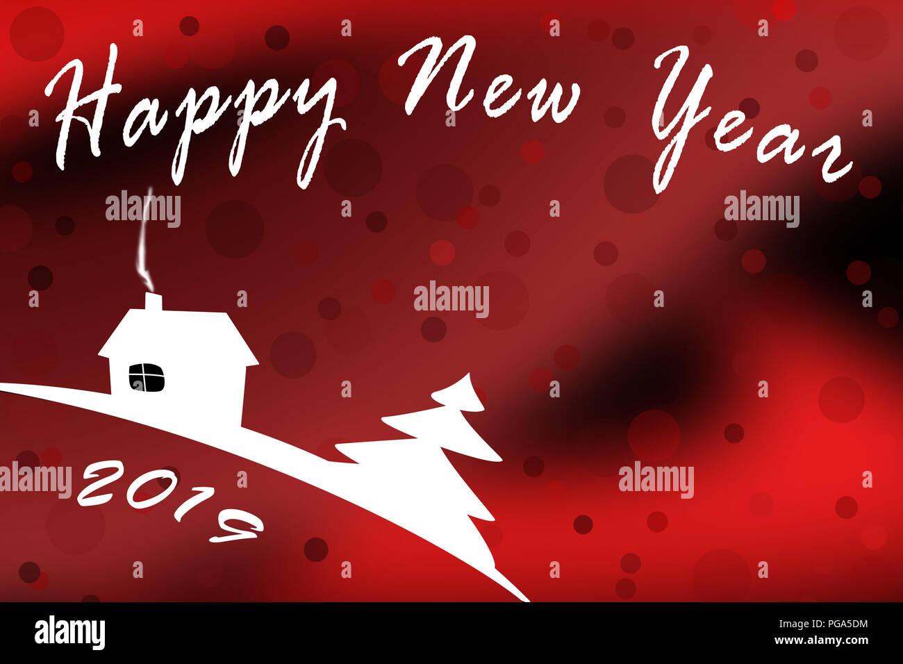 Vorlage für Grüße ein Frohes Neues Jahr 2019 mit einem rot gefärbten ...