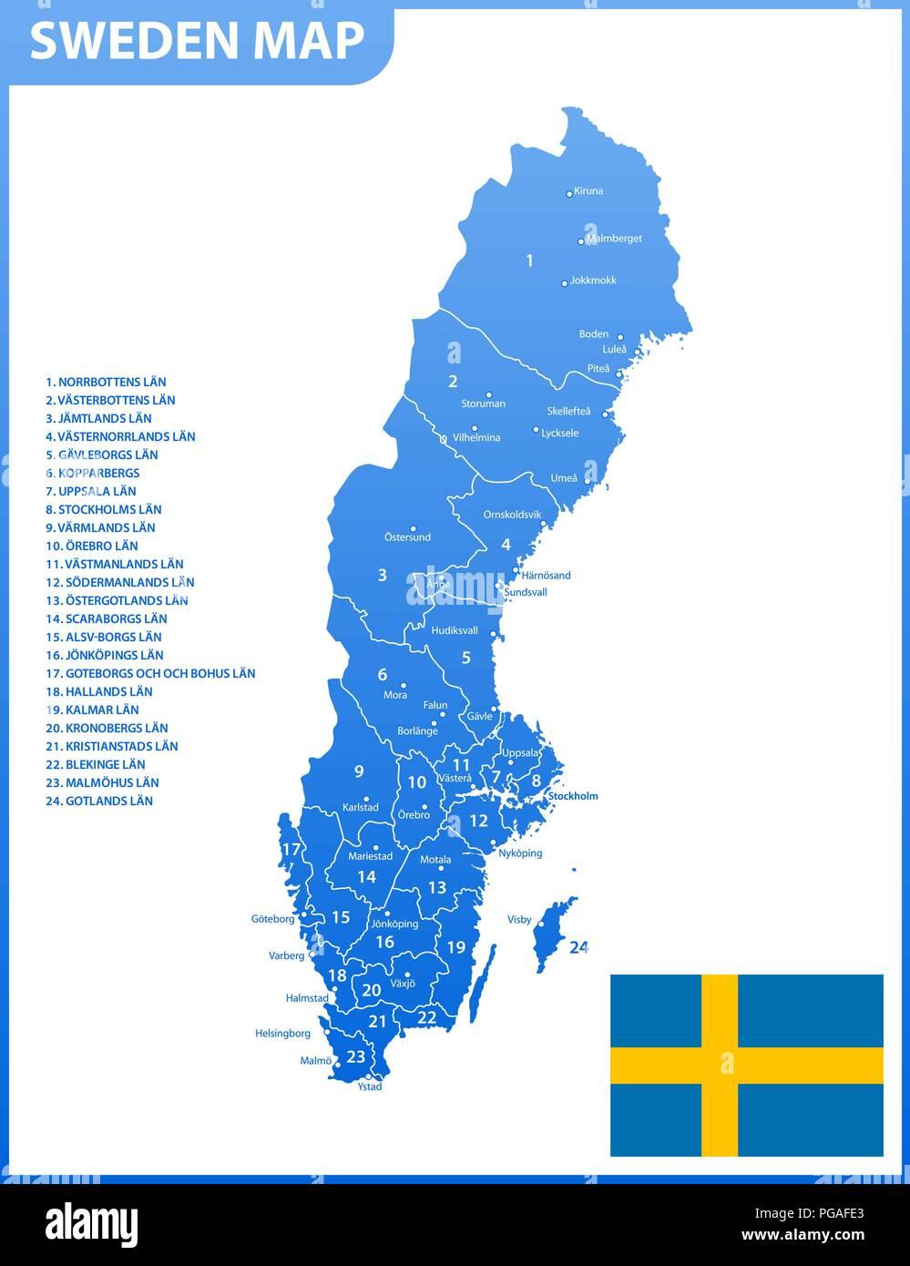 Schweden Karte Regionen.Die Detaillierte Karte Von Schweden Mit Regionen Oder