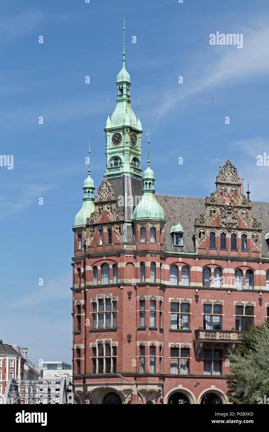 Die so genannte Rathaus der Speicherstadt (Warehouse district), Hamburg, Deutschland Stockbild