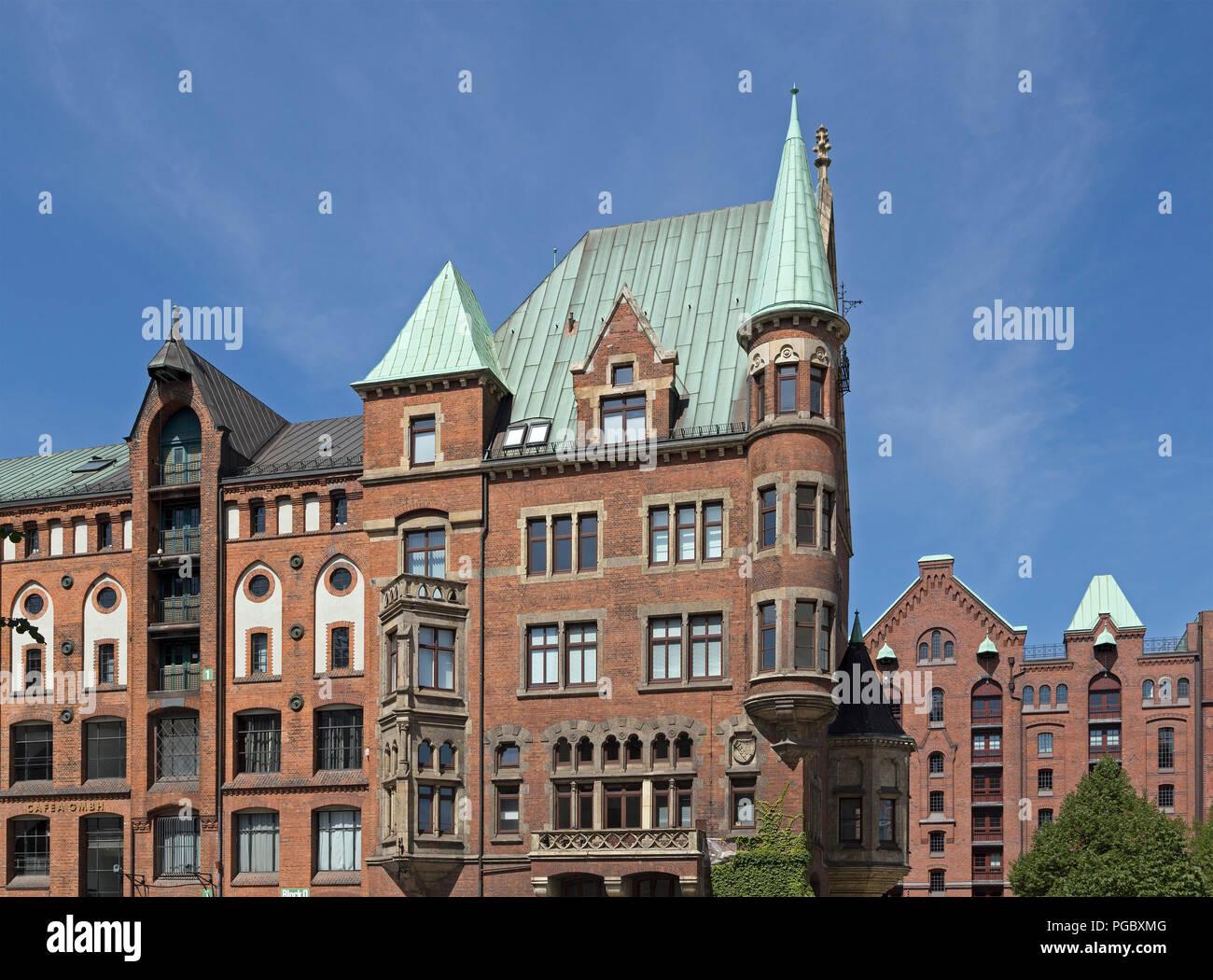 Alte Gebäude, Speicherstadt (Warehouse district), Hamburg, Deutschland Stockbild