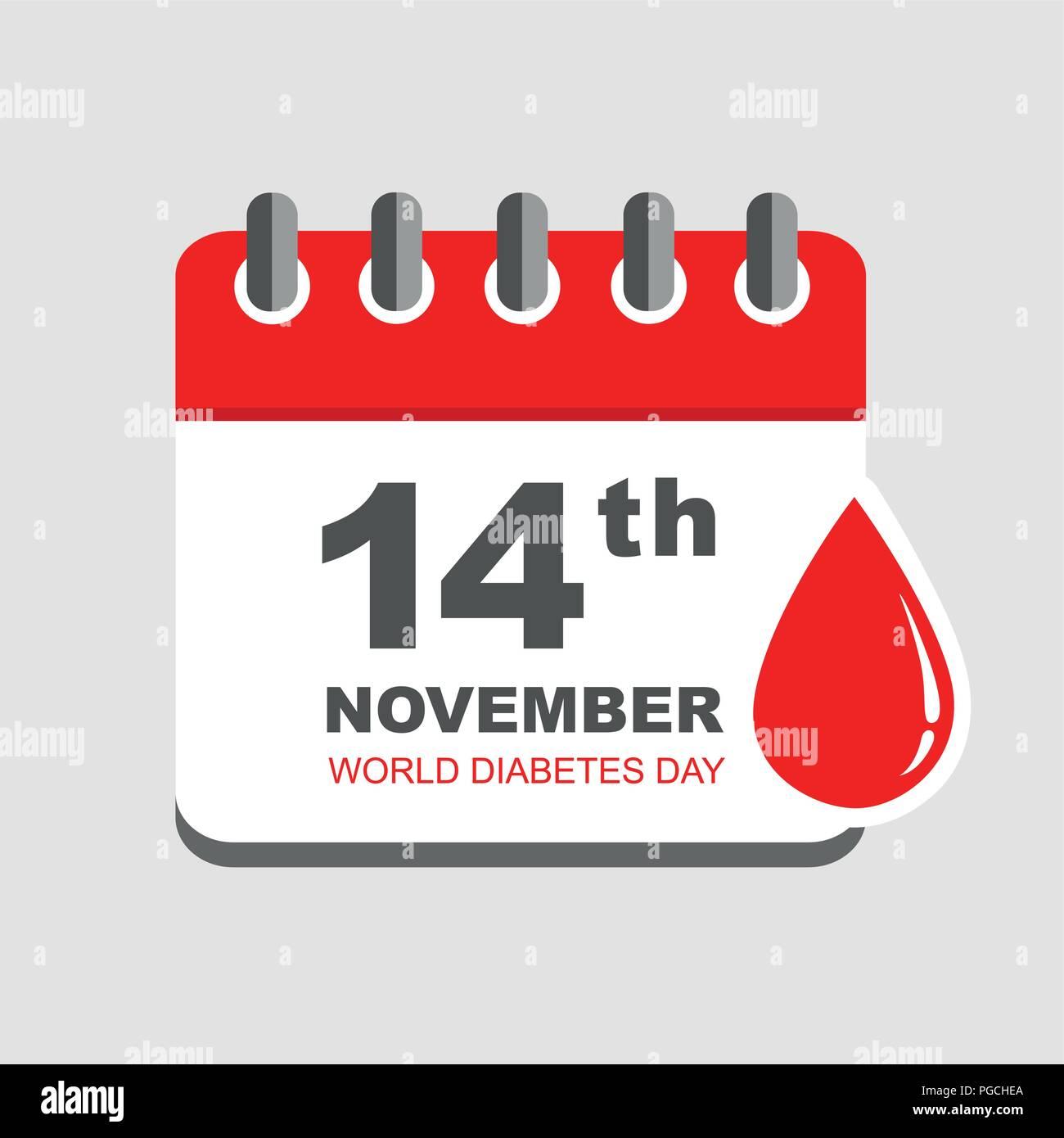 Weltdiabetestag Blutstropfen im Kalender Vektor-illustration EPS 10. Stockbild
