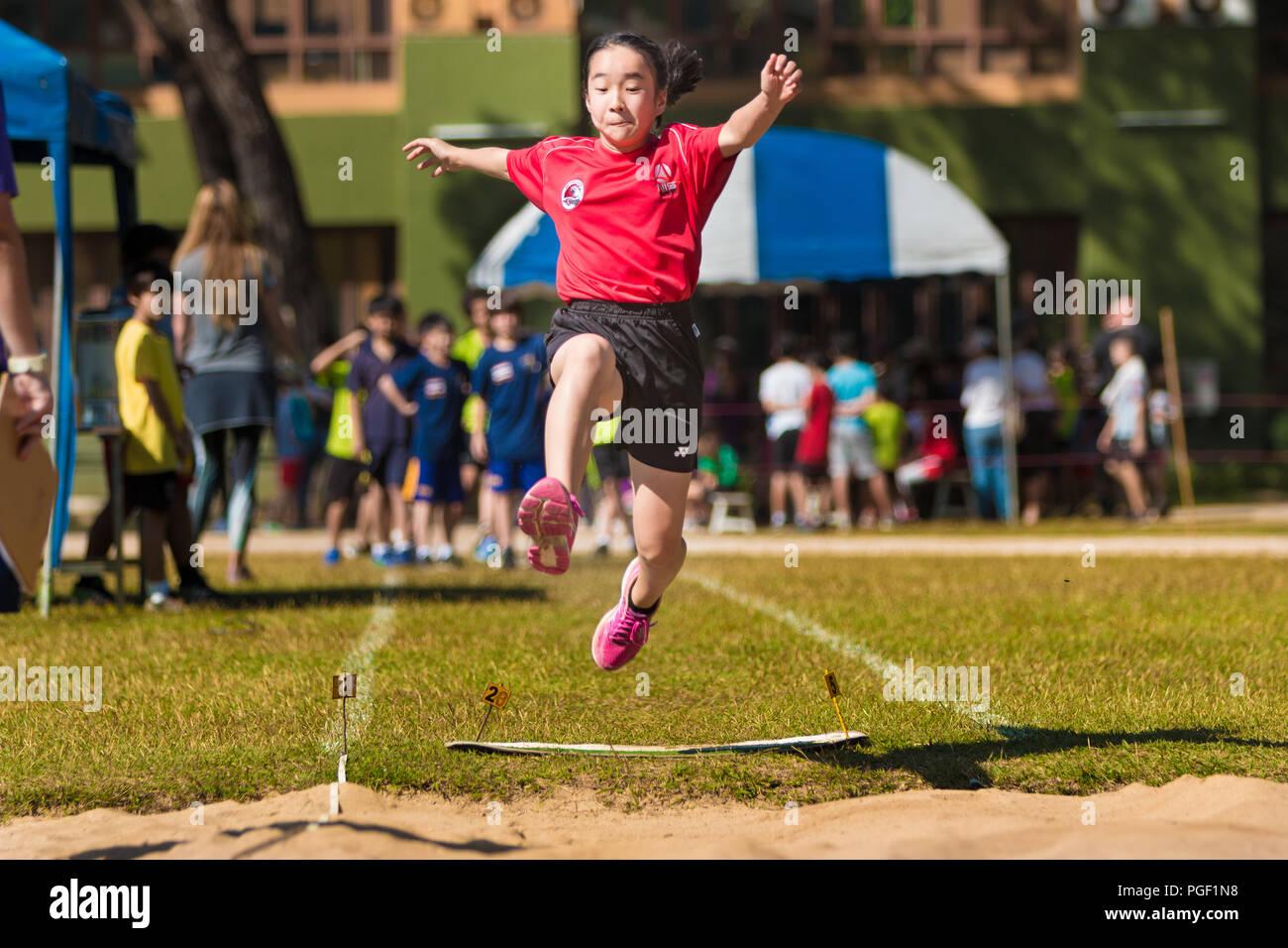 CHIANG MAI, THAILAND 29 Januar 2018 School Girl Athlet