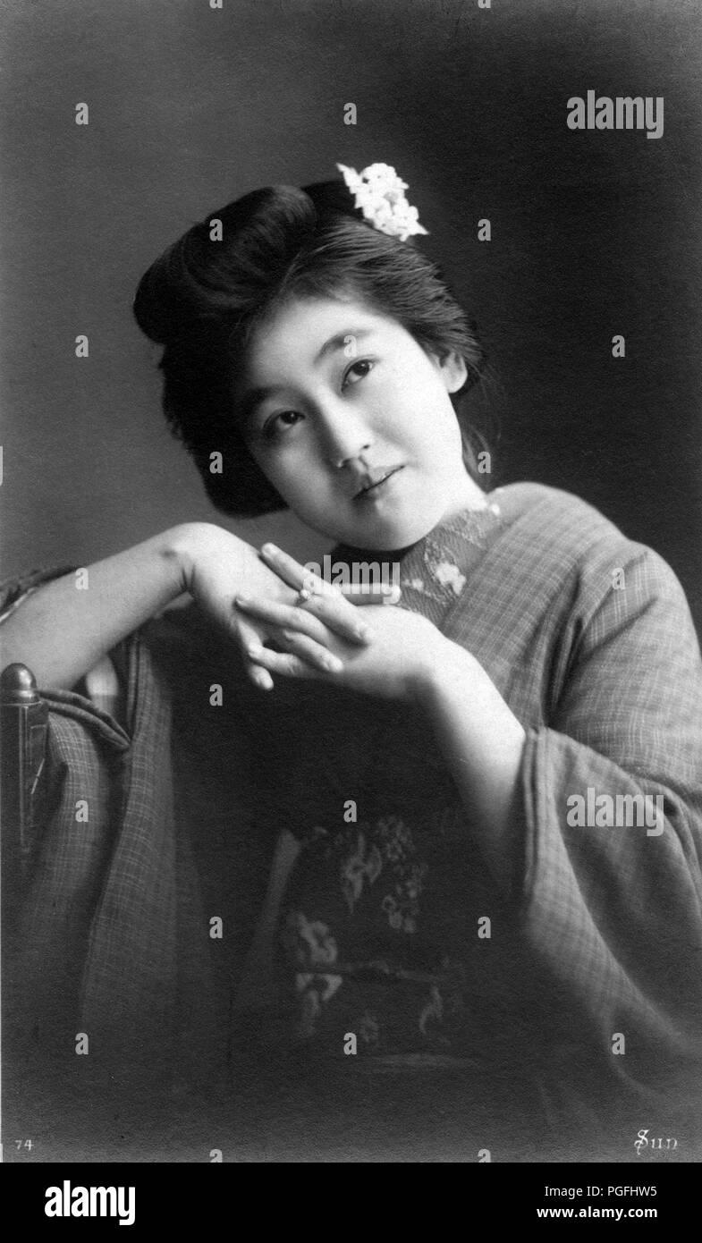 C 1910 Japan Junge Japanische Frau Junge Japanische Frau Im