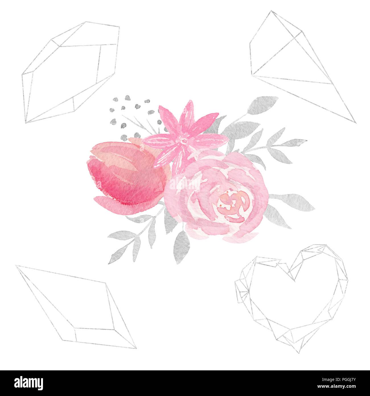 Satz von Aquarell florale Komposition mit Blumen, Blätter, und ...