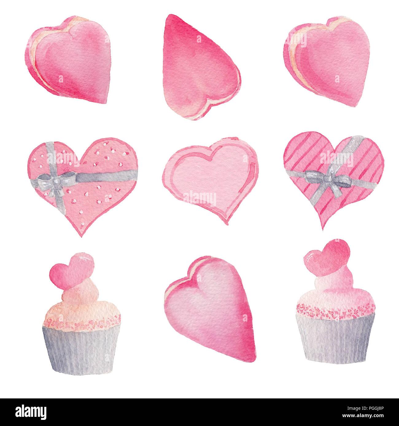 Satz Von Hand Gemalte Aquarell Herzen Und Kuchen Isolierte Cliparts