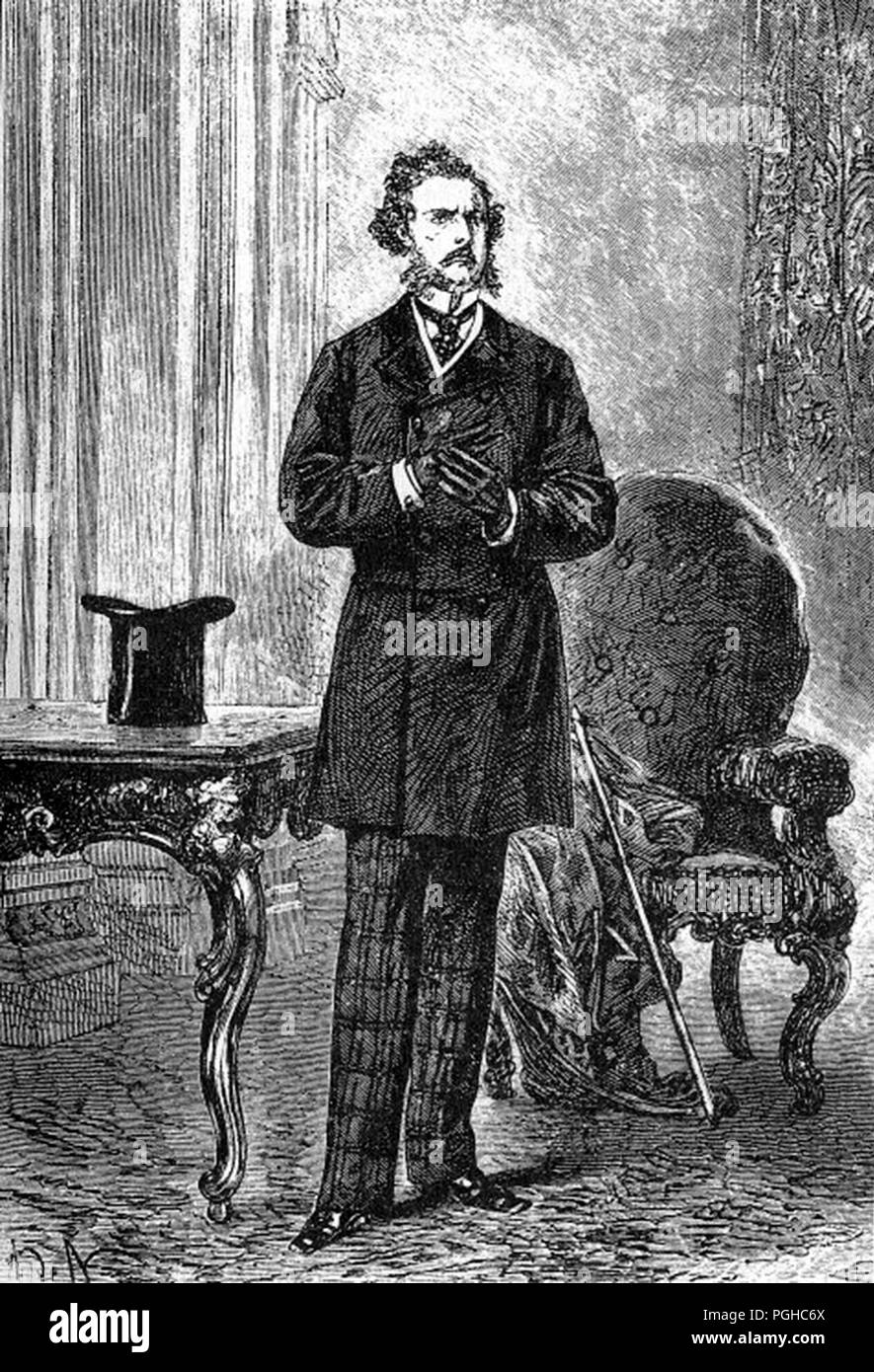 Phileas Fogg von Alphonse De Neuville & Léon Benett, Phileas Fogg ist der Protagonist in der 1873 Jules Vernes Roman in 80 Tagen um die Welt. Stockbild