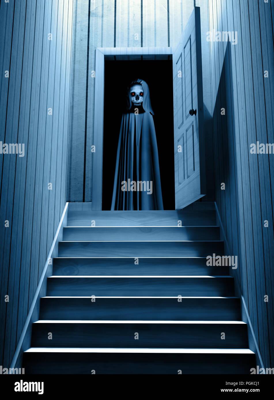 Spooky Tod in mit Kapuze Umhang mit glühenden Augen in geöffneten Tür Schritte von einem dunklen Keller. 3D-Rendering Stockfoto