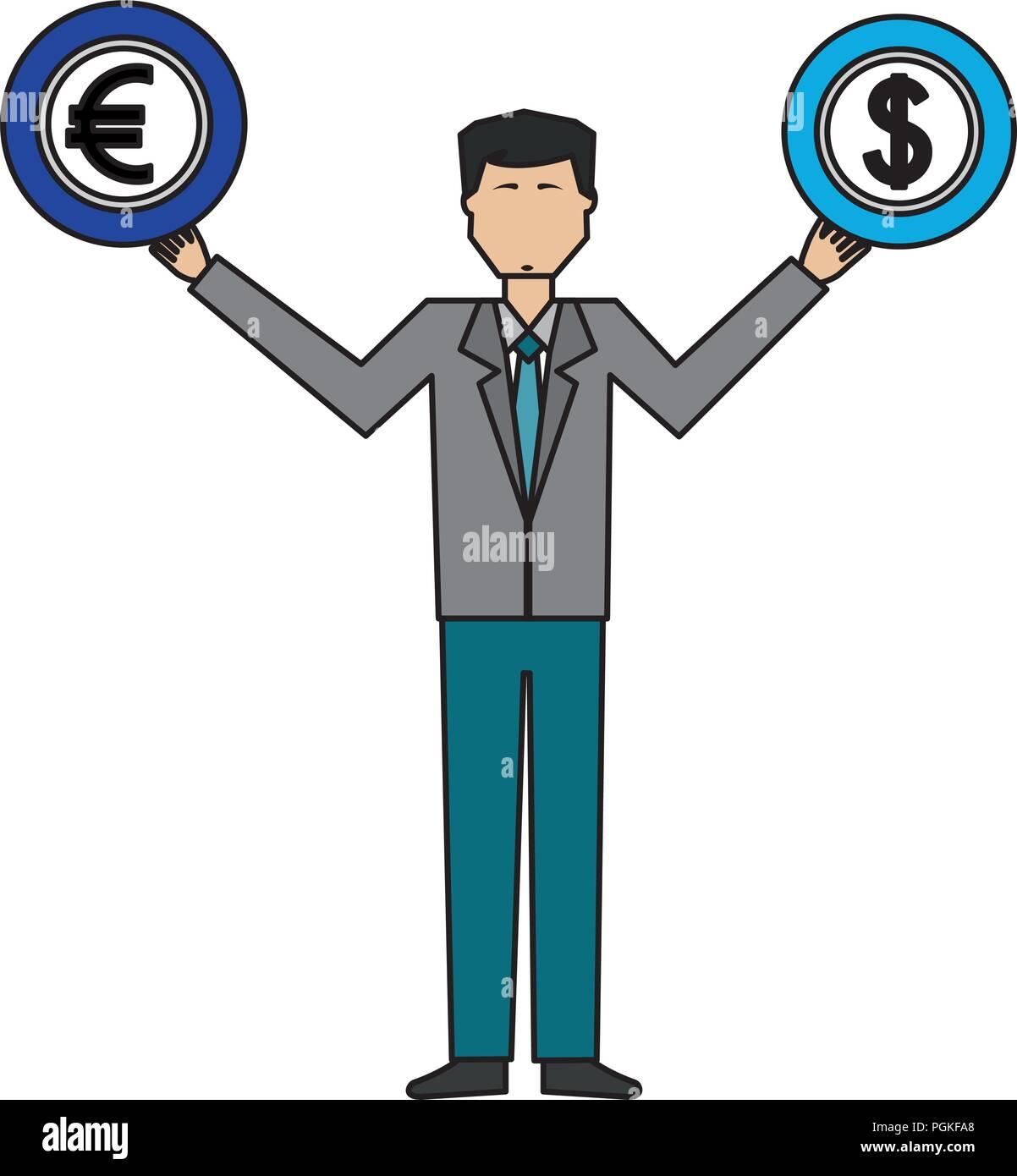 Geschäftsmann Mit Münzen Dollar Euro In Händen Vektor Abbildung