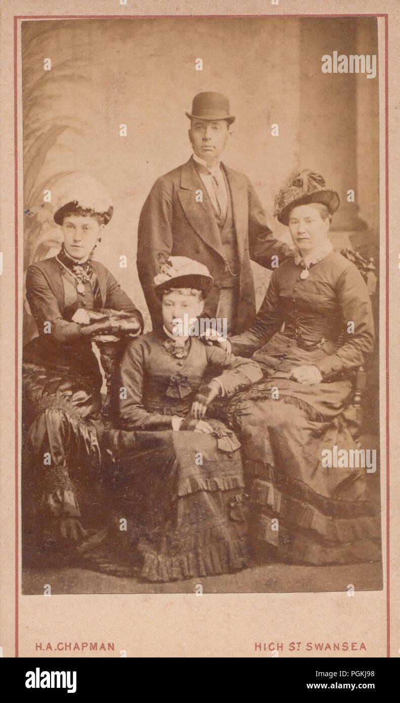 Swansea Wales CDV Carte De Visite Eines Viktorianischen Mann Und Drei Damen