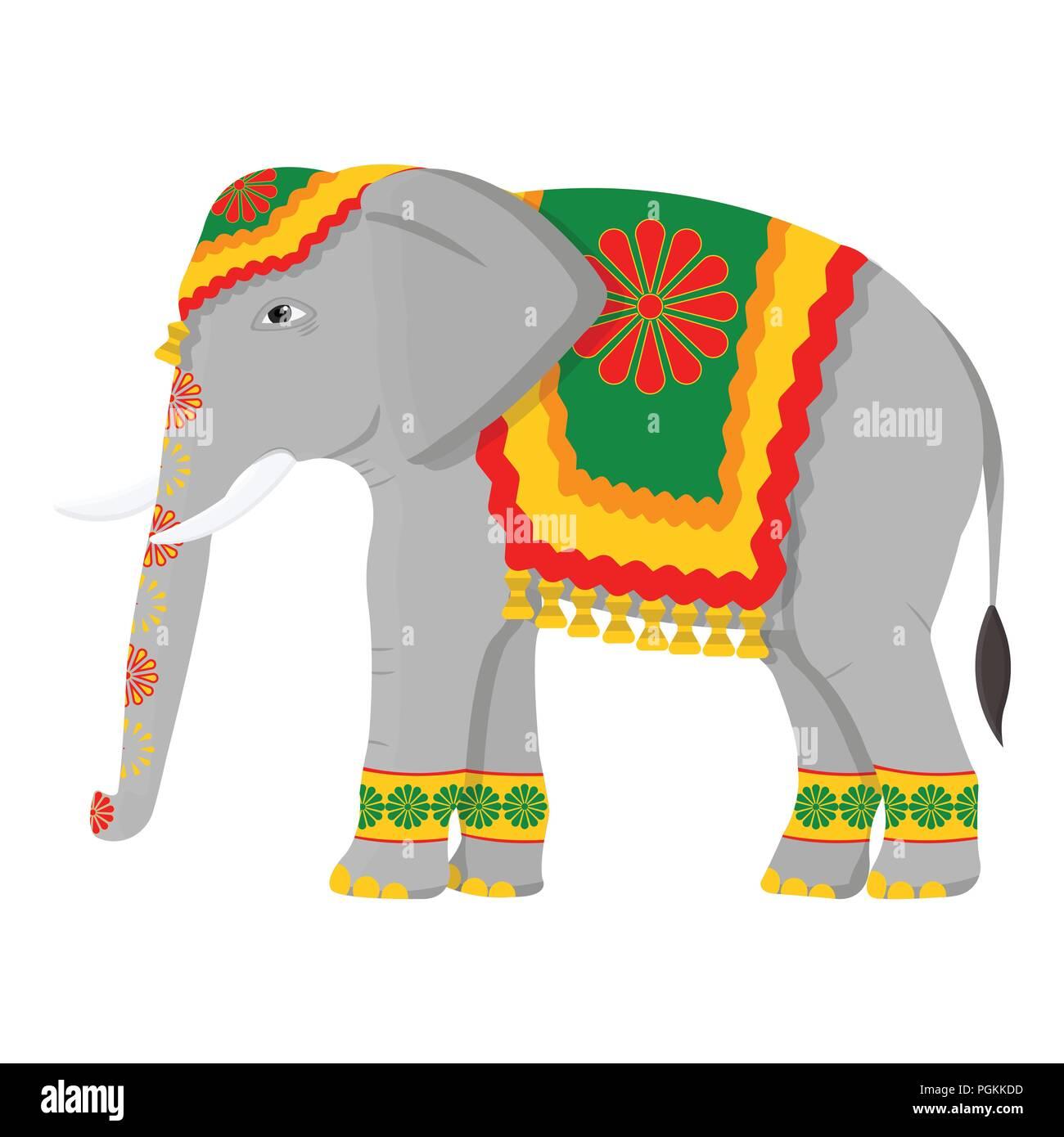 indischer elefant symbol im comicstil auf weißem