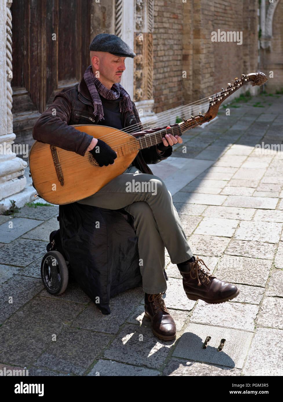 Lute Player in Venedig Stockbild