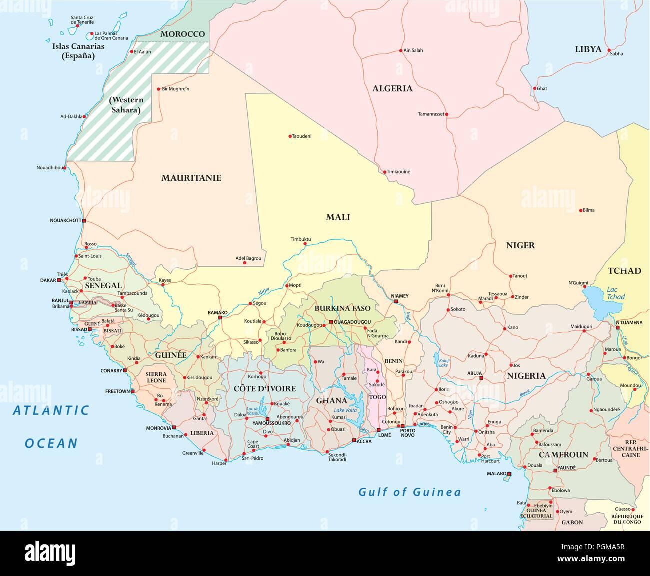 Detaillierte Straßenkarte der Länder Westafrikas mit Hauptstädten. Stockbild