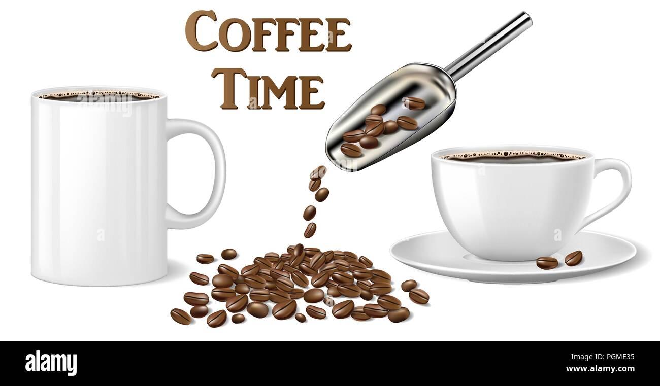 Schwarz Instant Kaffee Tasse mockup Vorlage auf Weiß isoliert. 3D ...