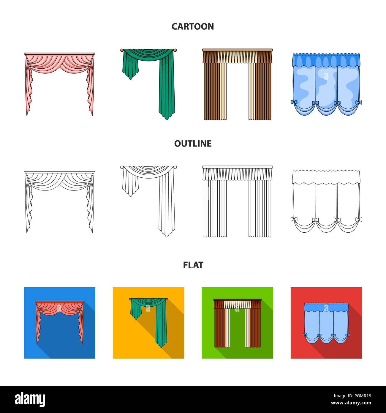Verschiedene Arten Von Vorhangen Gardinen Set Sammlung Icons Im