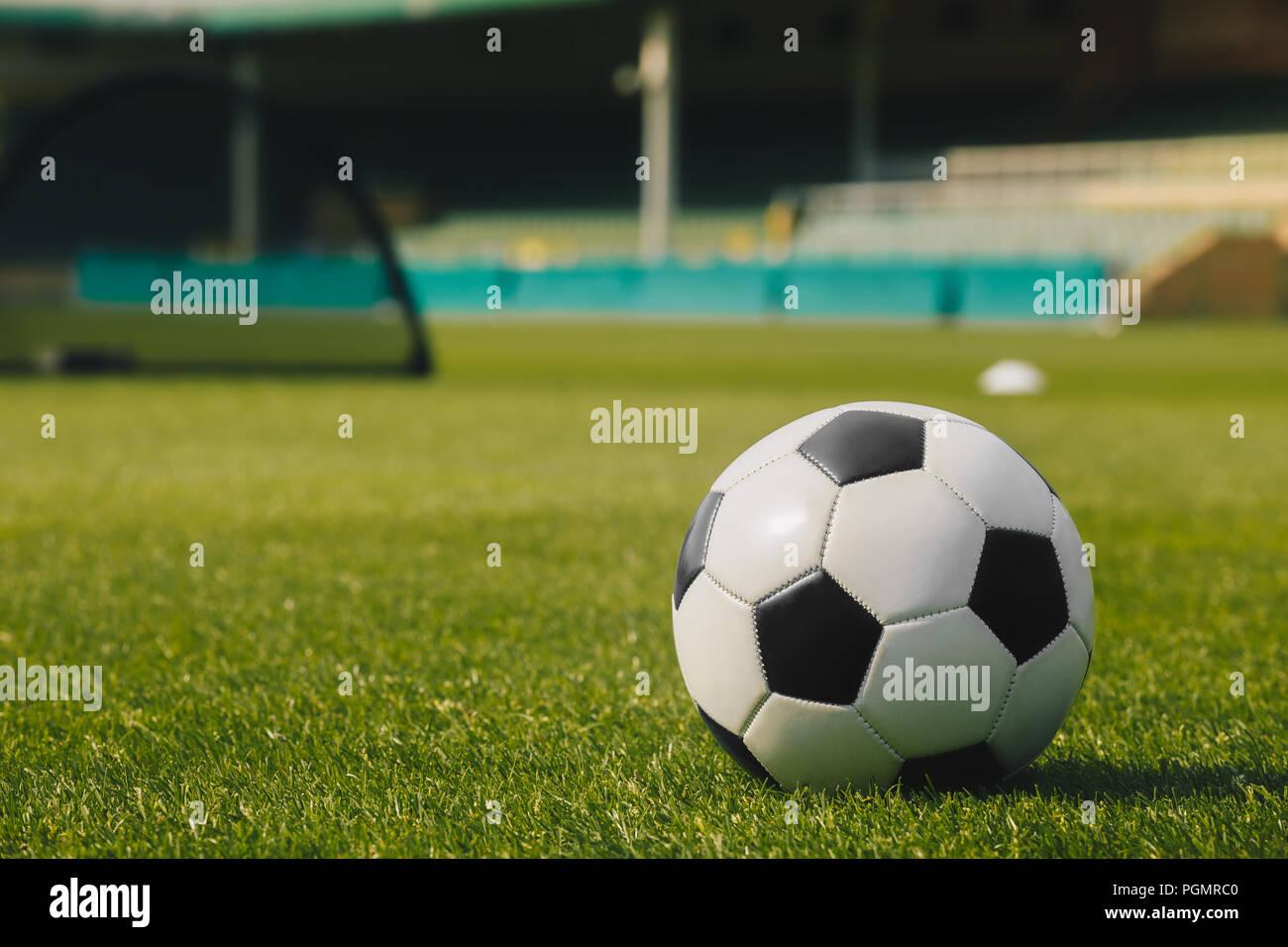 Fussball Auf Grunem Gras Mit Stadion Hintergrund Fussball