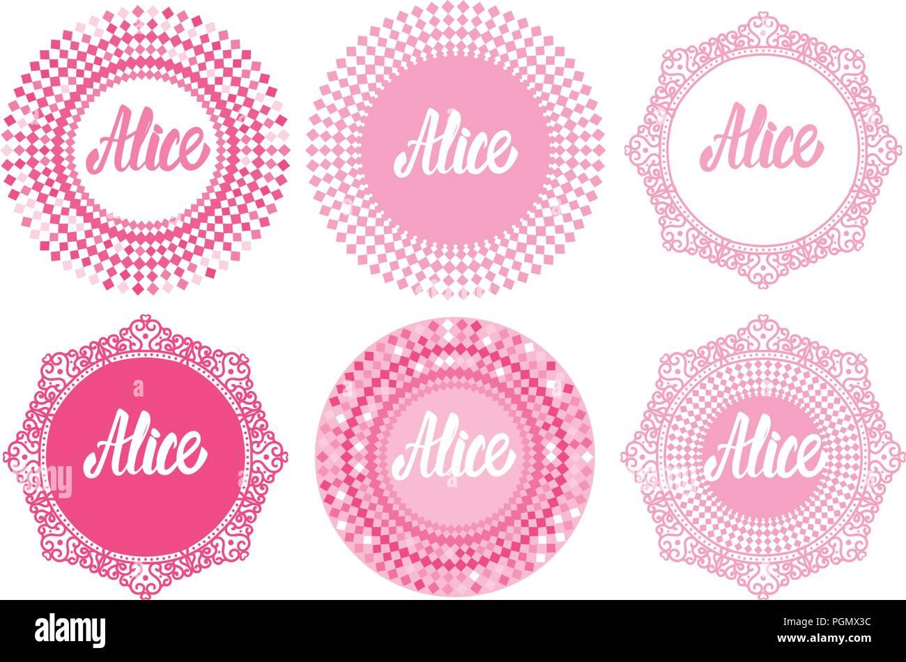 Vektor runden Rahmen Set mit letering Alice. Prinzessin girly Design ...