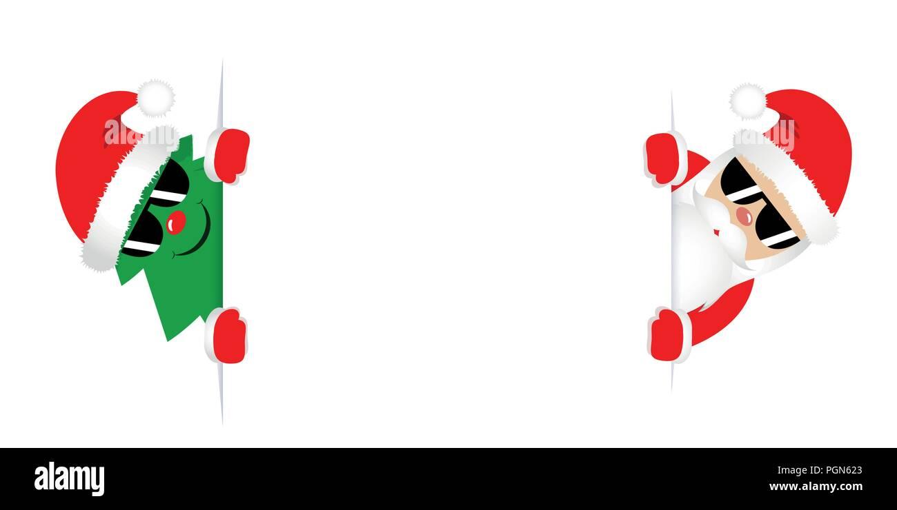 Coole Weihnachten Tannenbaum Und Weihnachtsmann Mit Roten Mützen Und