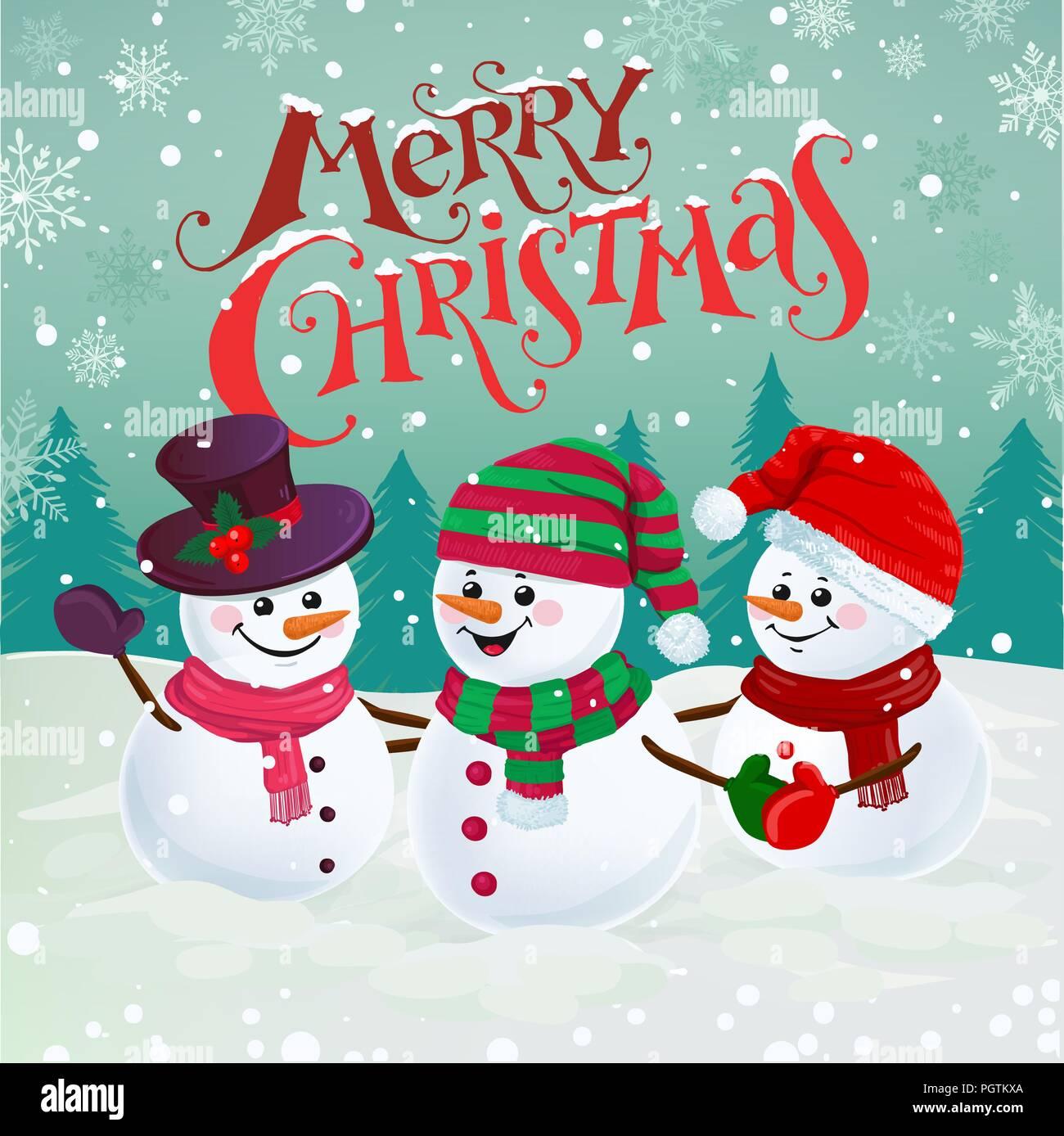 Frohe Weihnachten Lustige Bilder.Drei Lustige Schneemanner In Mutzen Schals Und Handschuhe
