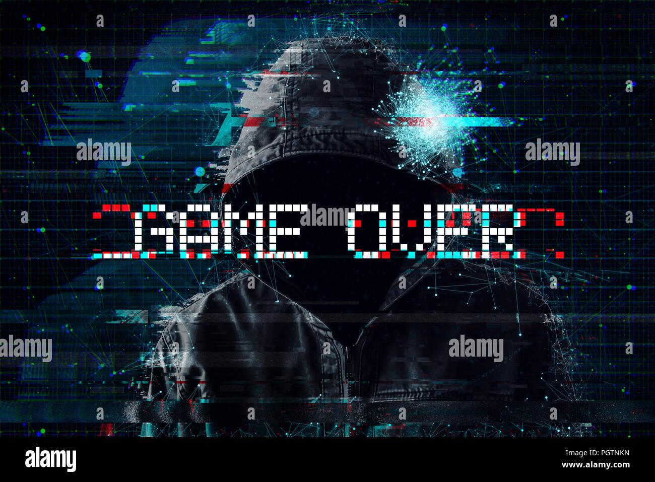 Game over-Konzept mit Kapuze video Gamer und glitch Wirkung Stockbild