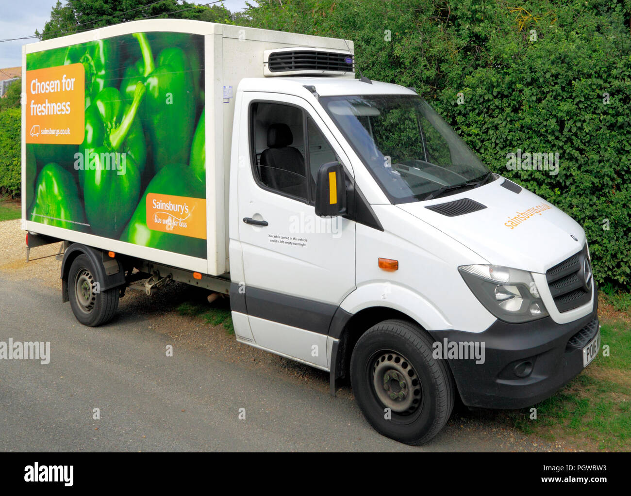 Sainsbury's Supermarkt, online Versand, Fahrzeug, Van, England, UK, Sainsburys Stockbild