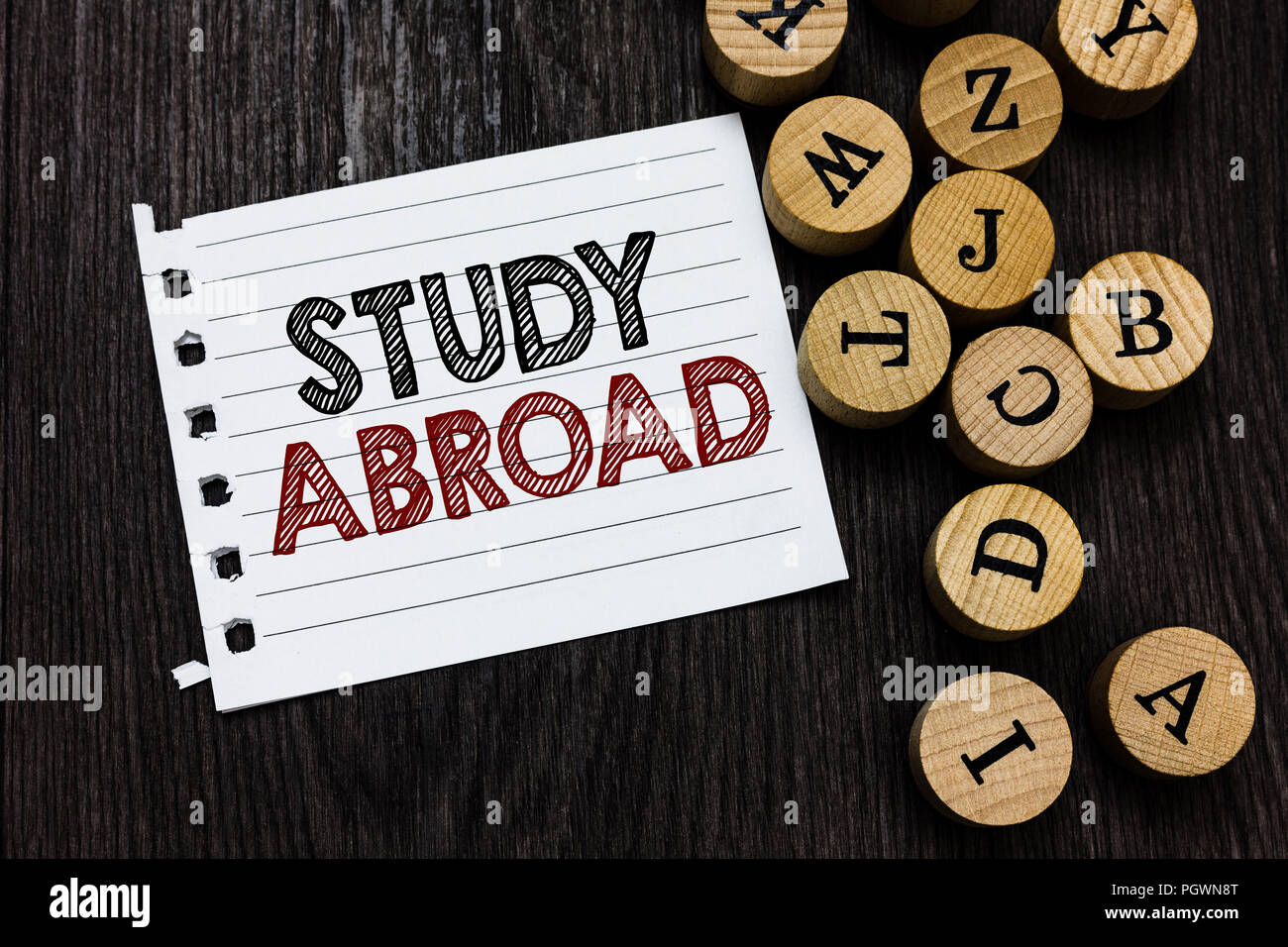 Wort Schreiben Text Studieren Im Ausland Business Konzept Für Die