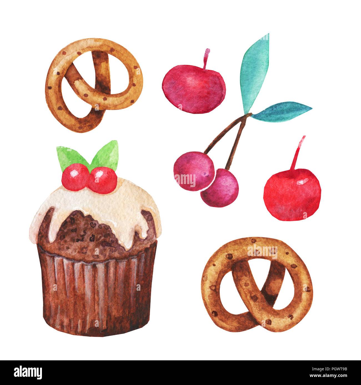 Aquarell Cupcake Fee Kuchen Auf Einem Weissen Hintergrund Sweet