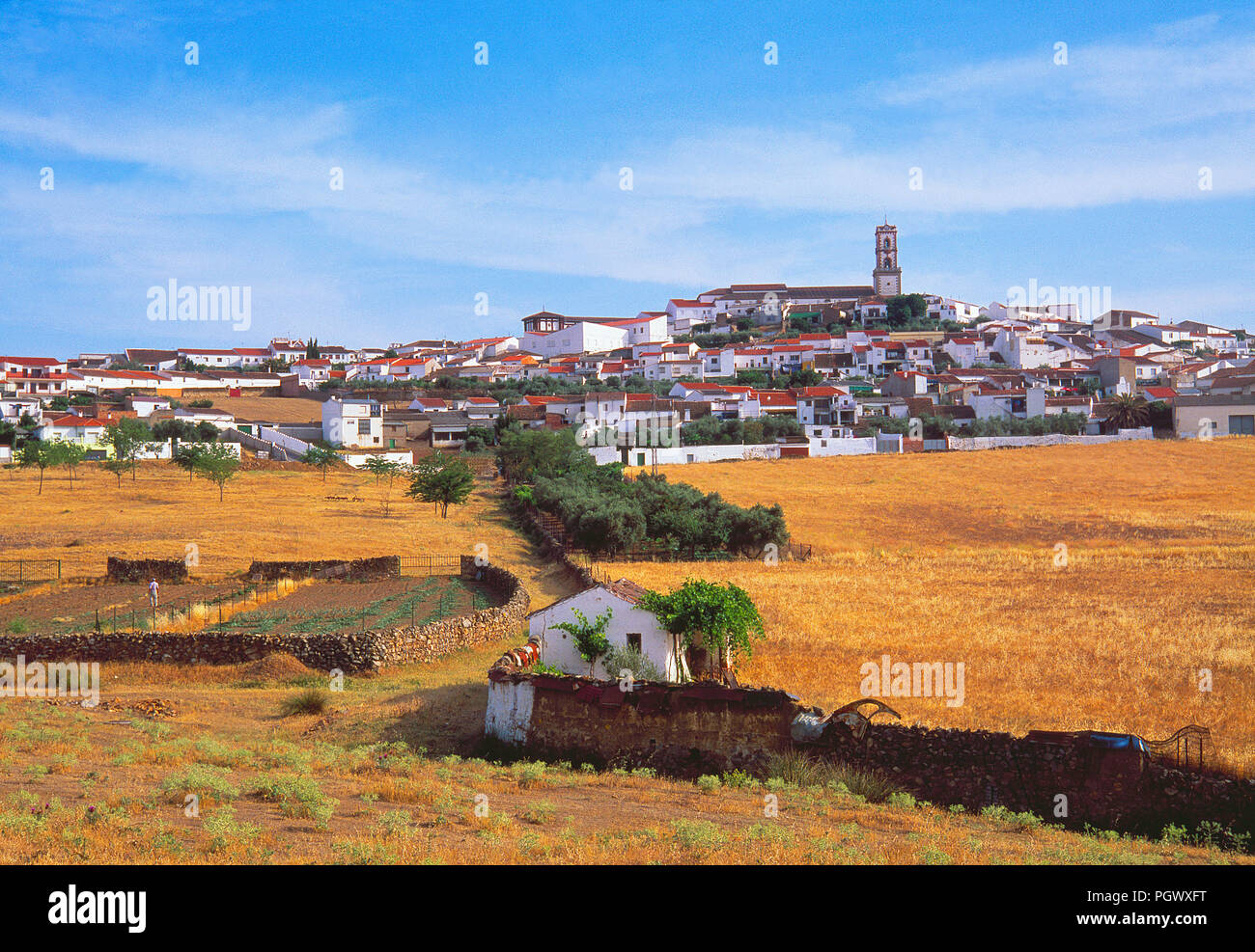 Übersicht. Fuenteobejuna, Provinz Córdoba, Andalusien, Spanien. Stockbild