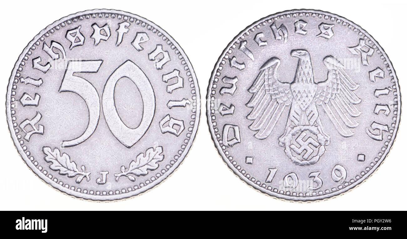 Deutschen Münze 1939 Deutsches Reich 50 Pf Stück Mit Deutschen