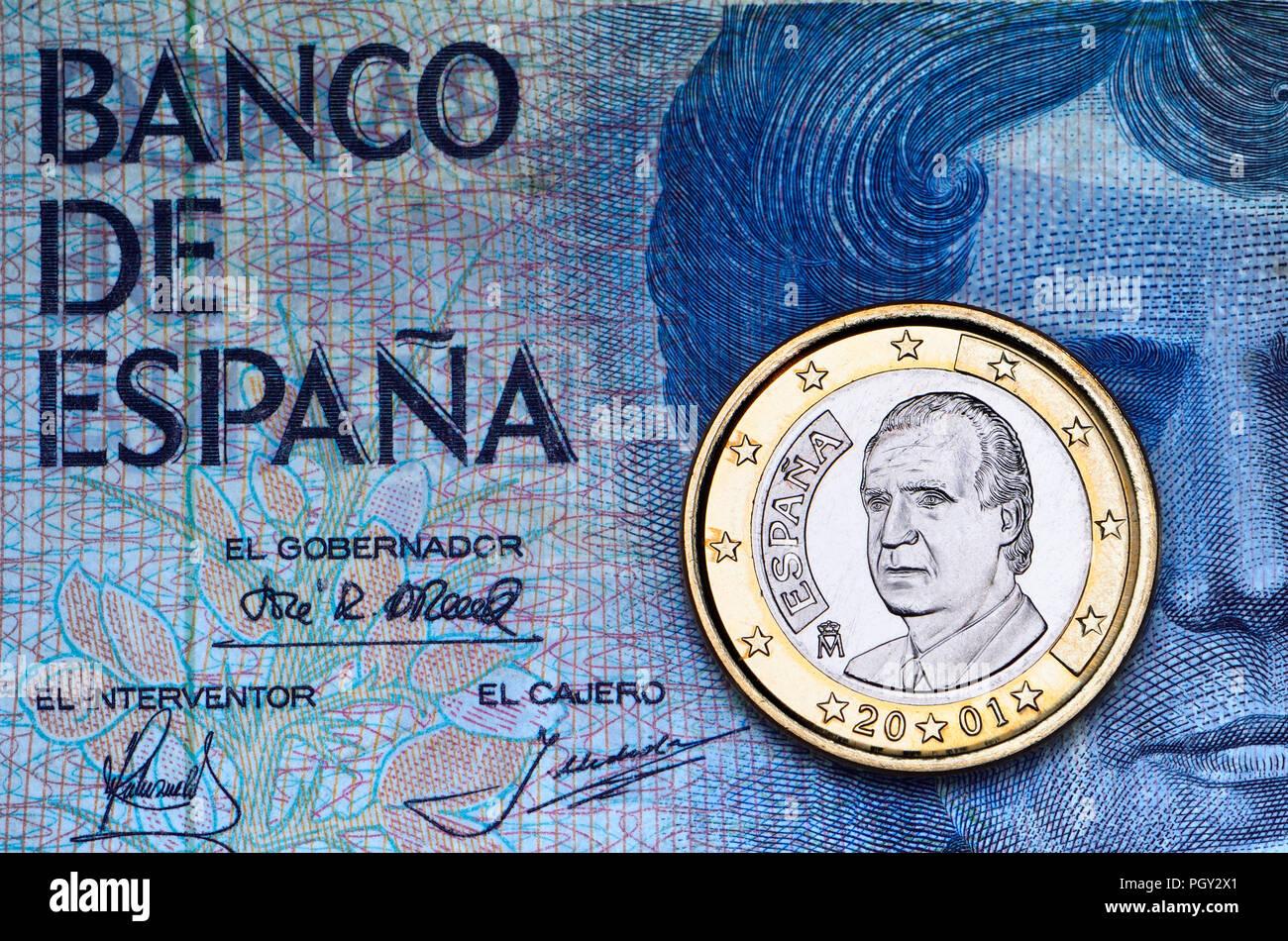 Spanisch 1 Euro Münze Ein A 1979 500 Peseta Spanisch Banknote