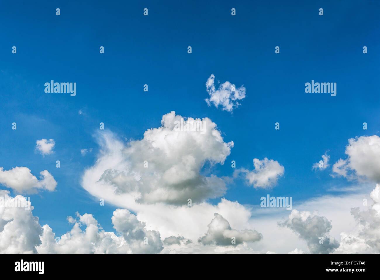 Flauschige cumulus Wolken im blauen Himmel Stockbild