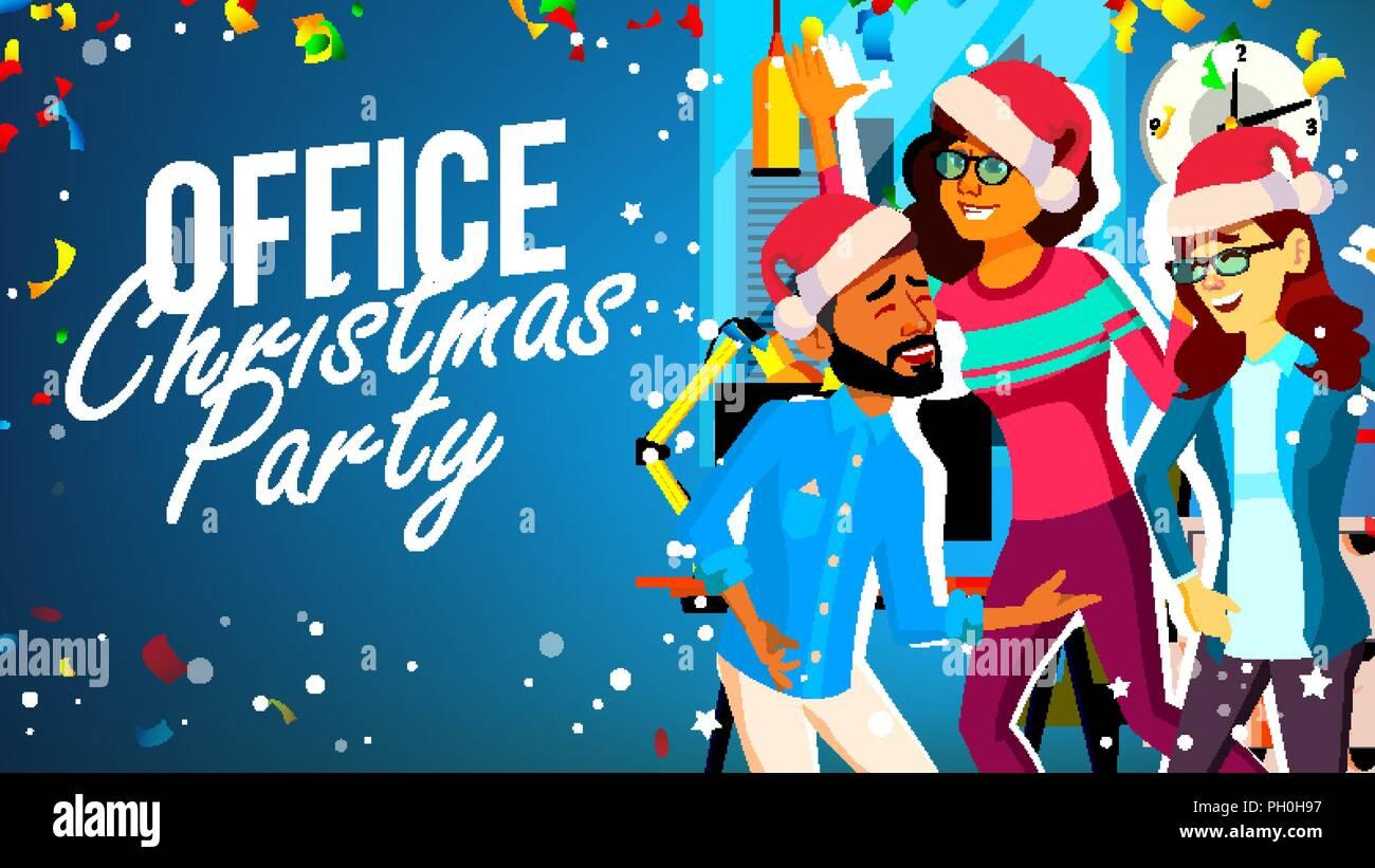 Weihnachtsfeier Cartoon.Weihnachtsfeier Im Büro Vektor Junger Mann Frau Santa Hüte