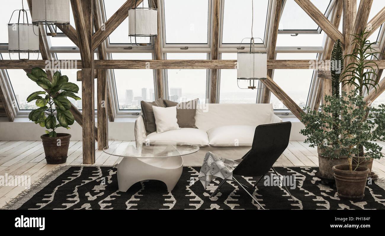 Modernes Wohnzimmer Mit Weißen Couch Neben Topfpflanzen Und Modernen  Tabelle Oben Auf Gemustertem Teppich