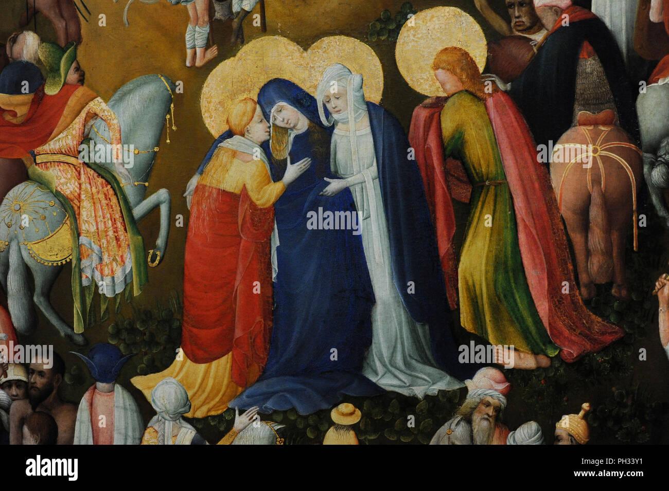 Meister der Wasservass Golgatha (aktiv in Köln, 1415-1435). Kalvarienberg der Wasservass Familie, 1420-1430. Detail. Wallraf-Richartz-Museum. Köln. Deutschland. Stockbild