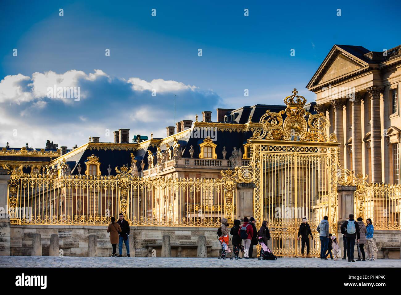 Das Schloss Versailles in einem eiskalten Wintertag kurz vor Frühling Stockbild