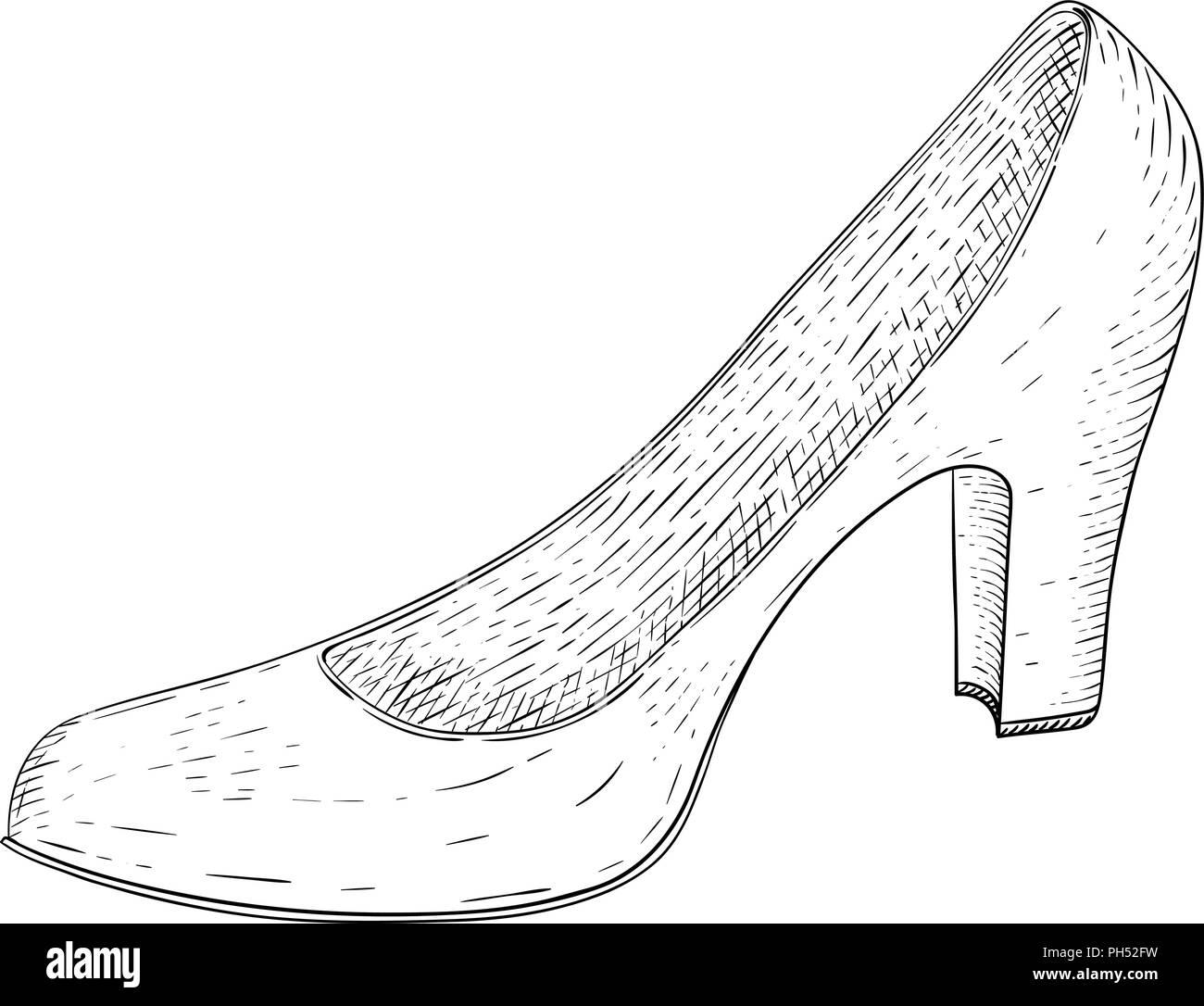 Frauen Schuh Hand Skizze Gezeichnet Vektor Abbildung Bild