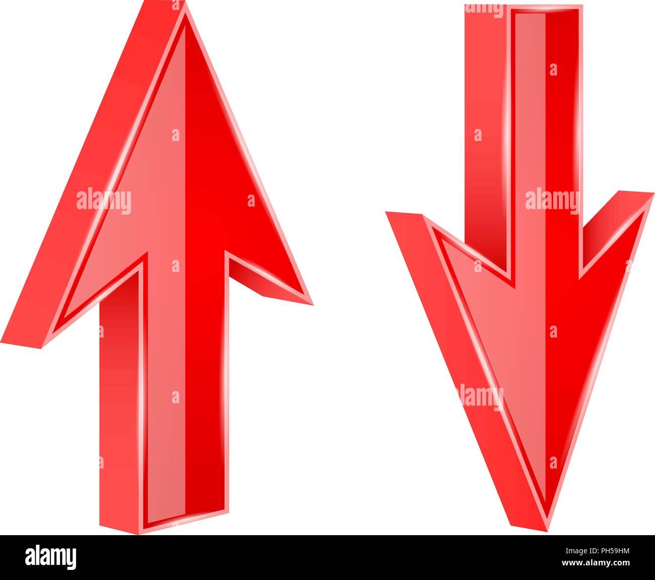 Rote Pfeile NACH OBEN und NACH UNTEN. 3d-glänzende Zeichen Stockbild