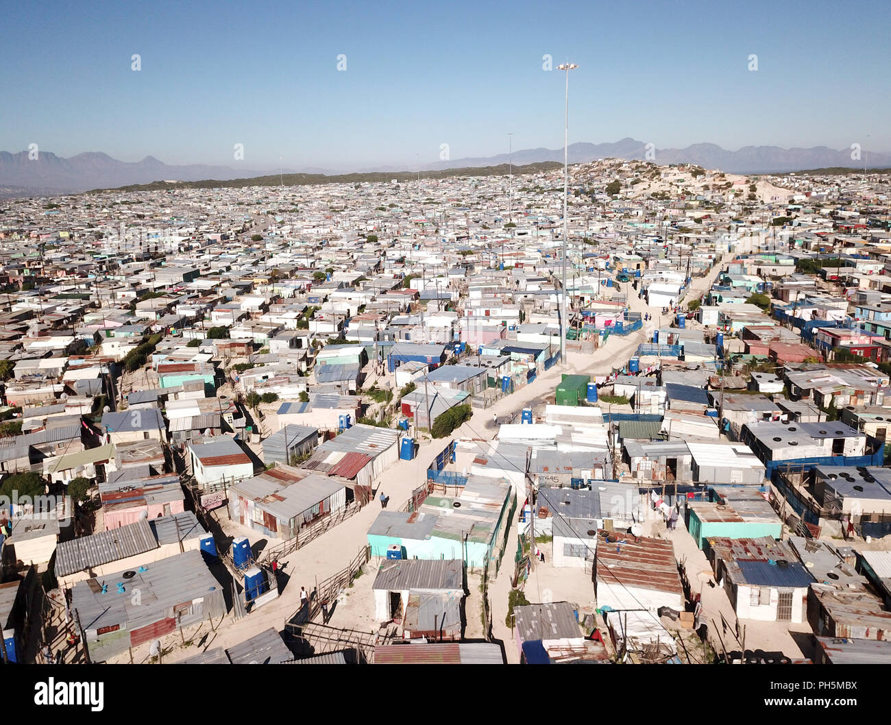 Luftbild in einem Township in der Nähe von Kapstadt, Südafrika Stockfoto