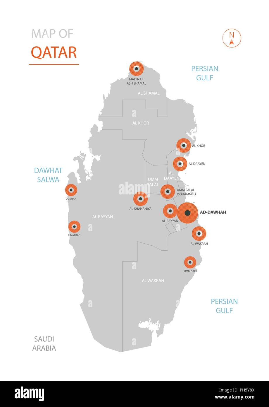 Doha Karte Welt.Stylized Vector Katar Karte Der Grossen Stadte Die