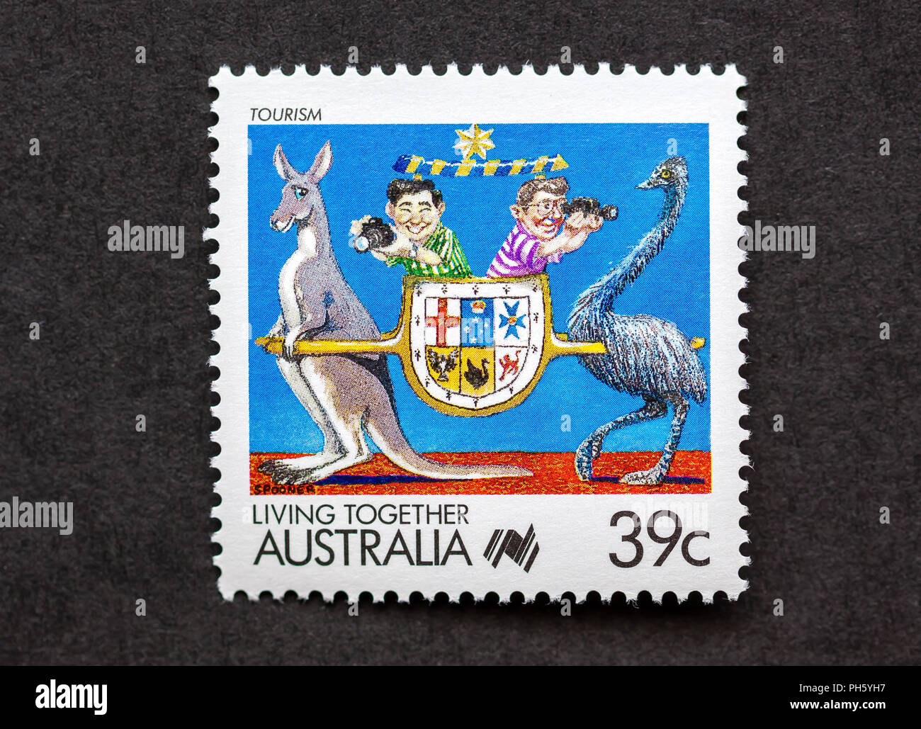 Single 39 Cent Munze Australien Stempel Tourismus In Das Zusammenleben Zu Fordern Stockbild