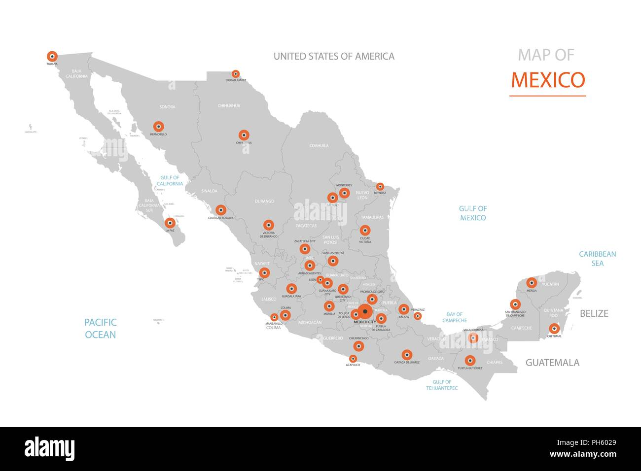 Mexiko Karte Umriss.Stylized Vector Mexiko Karte Der Grossen Stadte Die