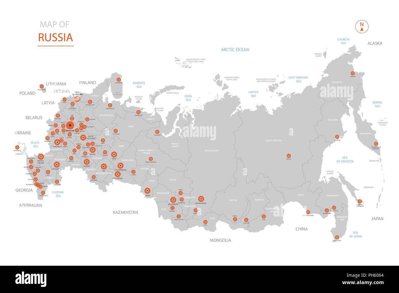Stylized Vector Russland Karte Der Grossen Stadte Die Hauptstadt